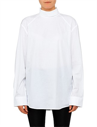CRISP COTTON HIGH NECK UTILITARIA SHIRT