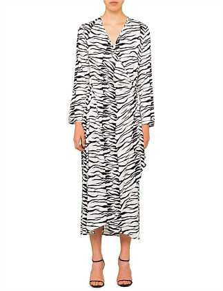 BETTY LONG SLEEVE WRAP MAXI DRESS