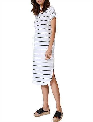 Curved Hem Stripe T-Shirt Dress