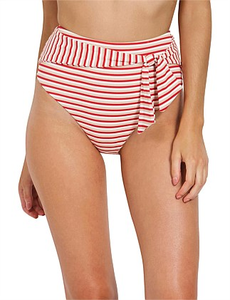Rouge Stripe Tie Front High Waist Pant