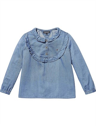 f05c52435d9 M Ruffled Denim Top L S (Girls 3-7 Years) On Sale. Tommy Hilfiger