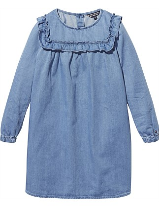 4f2a3d90bd8 M Ruffled Denim Dress L S (Girls 3-7 Years) On Sale. Tommy Hilfiger
