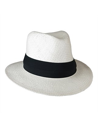 woven paper fedora with pug trim