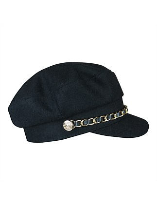 cap with chain detail