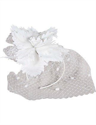 FLOWER WITH VEIL FASCINATOR