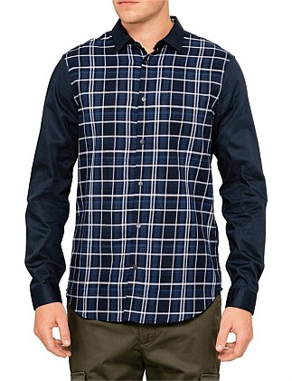Stretch poplin L/S shirt with check front panel