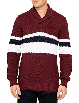50d71102a416 Fantasy stitch stripe pullover shawl collar knit. Armani Exchange