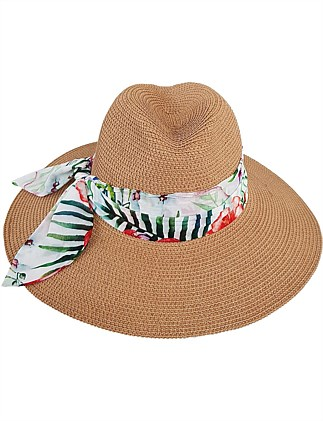 FEDORA WITH TROPICAL TRIM BAND