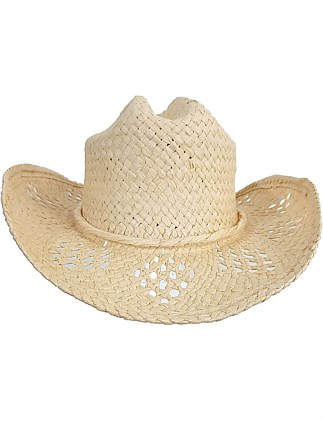 COWBOY HAT WITH DIAMOND WOVEN PATTERNS