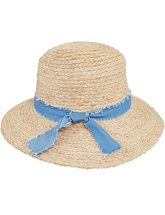 FEDORA WITH FRAYED CHAMBRAY KNOTTED TRIM BAND