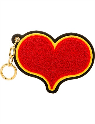 RED CHENILLE HEART BAG CHARM