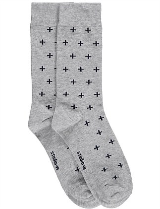 Cross Print Bamboo Blend Socks