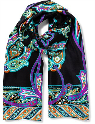 SILK LONG LARGE PAISLY FLOWER SCARF