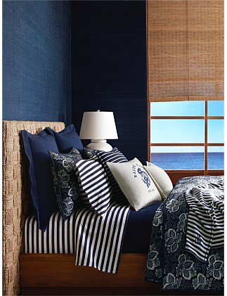 DURANT CAMERON NAVY QUEEN BED FLAT SHEET