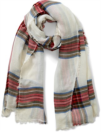 PICNIC CHECK FRINGED SCARF