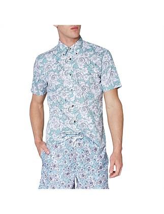 cd0cbfcaccf4 Outline Floral Print Mod Shirt ...