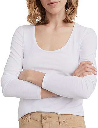 Cotton Long Sleeve Scoop Neck