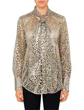 LUIS - GOLD LAME NECK TIE BLOUSE