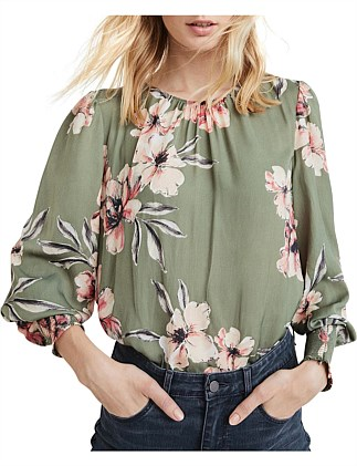 Print Gather Blouse