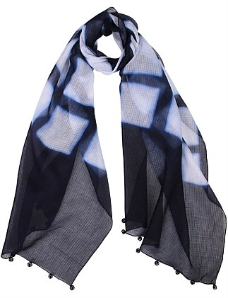 Raj Silk/Cotton Hand Dyed Check Scarf