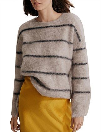 Brushed Mohair Stripe Sweater