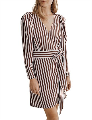 Stripe Drape Sleeve Dress