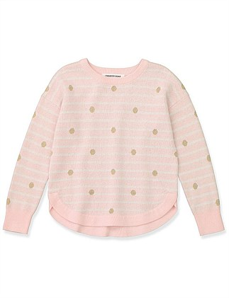 19507bd694e4 Stripe Spot Pullover Special Offer. CHARCOAL  PALE PINK