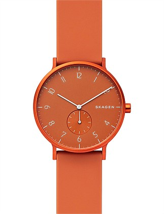 Aaren Kulør Orange Analogue Watch