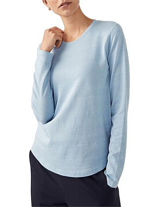 Long Sleeve Linen Cotton Pique T-Shirt
