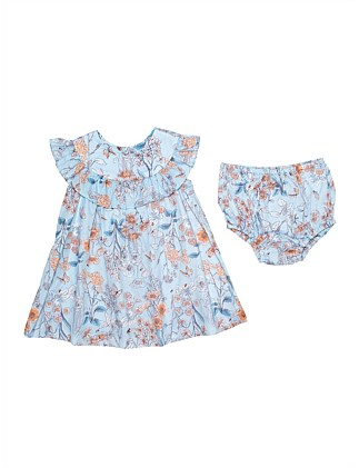 Frill Yoke Dress With Bloom - Print(3M-2Y)