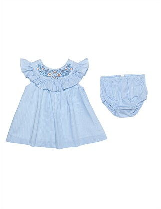 Frill Yoke Dress With Bloomer - Emb(3M-2Y)