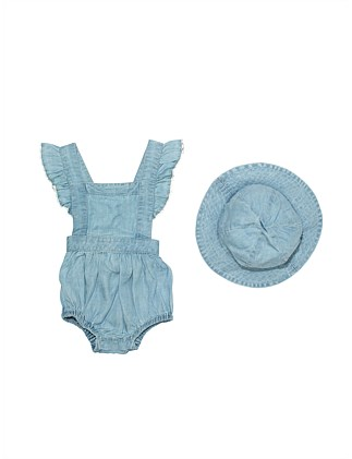Frill Sleeve Pinny Romper With Hat(3M-2Y)