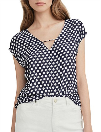 Printed Woven Splice Top