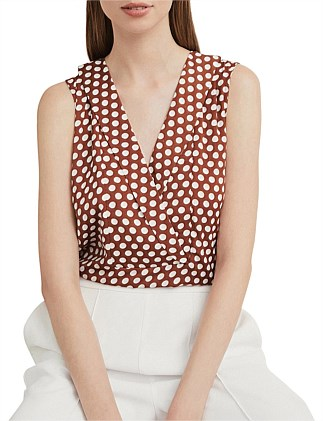 Print Collar Detail Top