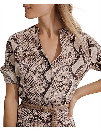 Snake Print Long Sleeve Blouse
