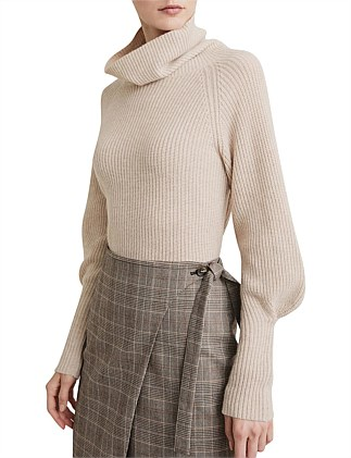 Pleat Sleeve Roll Neck Knit
