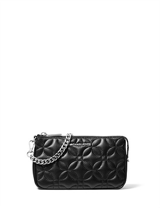 Floral Quilted-Leather Pouch