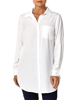 Longline Shirt With Side Buttons
