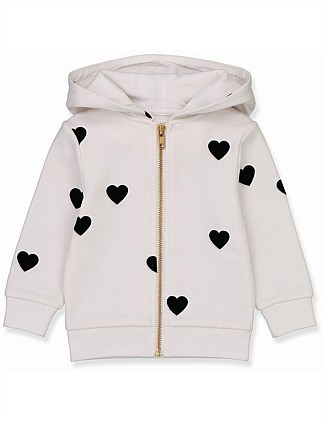 Flocked Heart Hoodie (Baby Girls 0-2)
