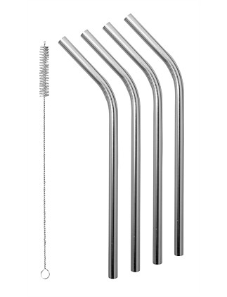 Smoothie SS Straws with Cleaning Brush - Set of 4