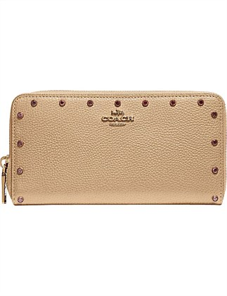 ACCORDION ZIP WALLET WITH CRYSTAL RIVETS