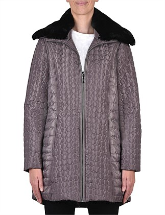 Puffer Coat With Fur Collar