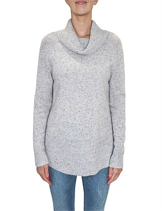 Cowl Neck Rib Hem Pull Over