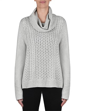 Cowl Neck Cable Detail Pull Over