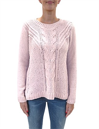 Chenille Cable Pullover