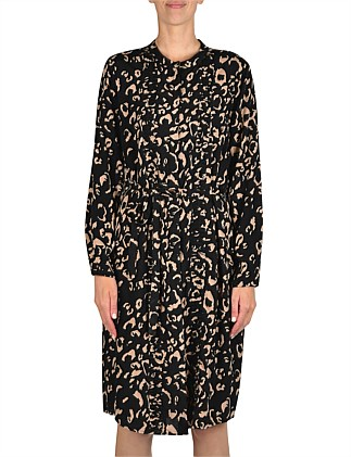Long Sleeve Printed Button Thru Dress