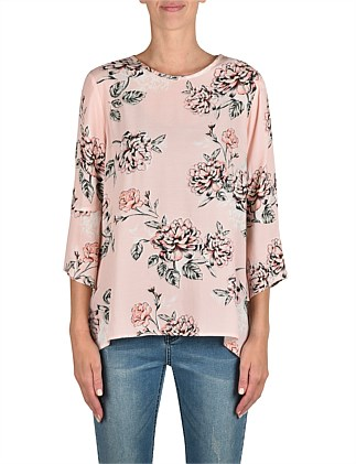 Frill Sleeve Floral Top