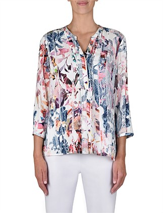 3/4 Sleeve Pintuck Abstract Print Top