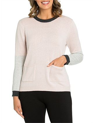 Long Sleeve Blocked Sweater