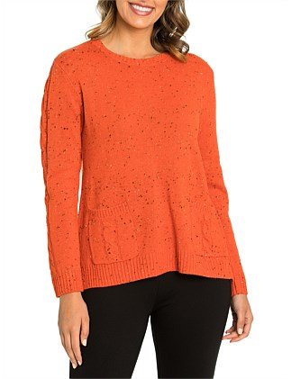 Long Sleeve Flecked Sweater